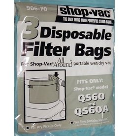 Shop Vac Shop Vac QS60 & QS60A All Around Wet/Dry Paper Bags (3pk)