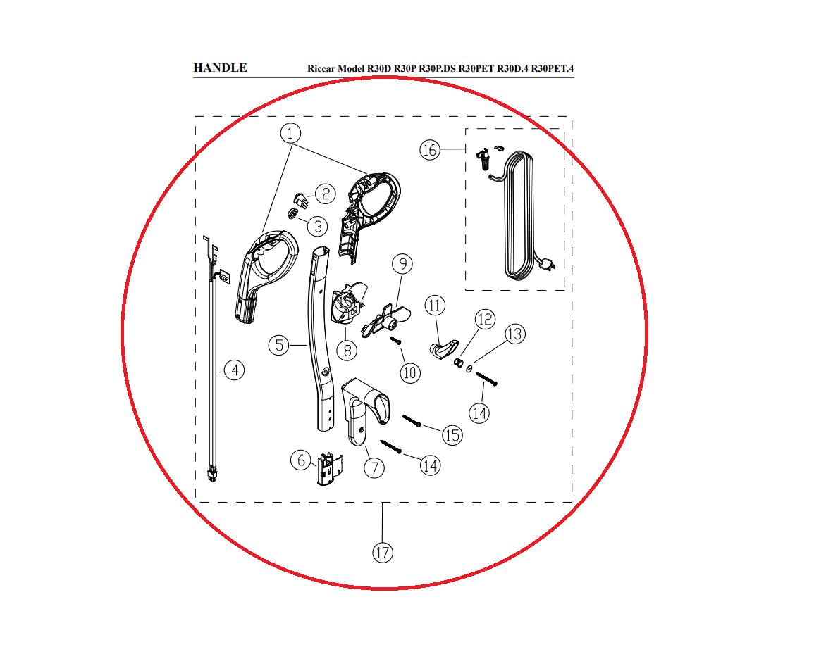 Riccar Riccar Brilliance Handle Assembly w/ Cord