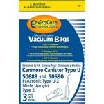 """EnviroCare Envirocare Kenmore Style """"U"""", 50688 & 50690 Paper Bag (3pk)"""
