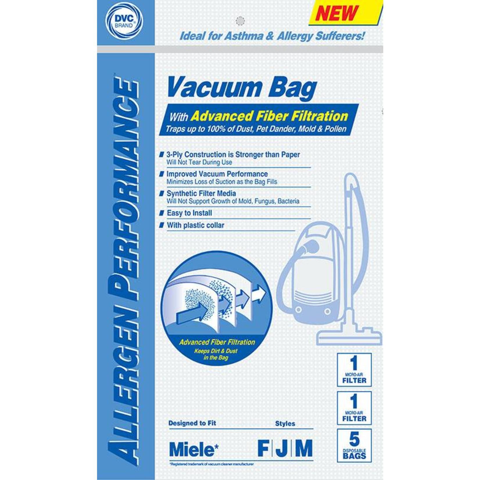 """Miele DVC Miele Style """"F, J, M"""" Bag (5pk + 2 Filter)"""