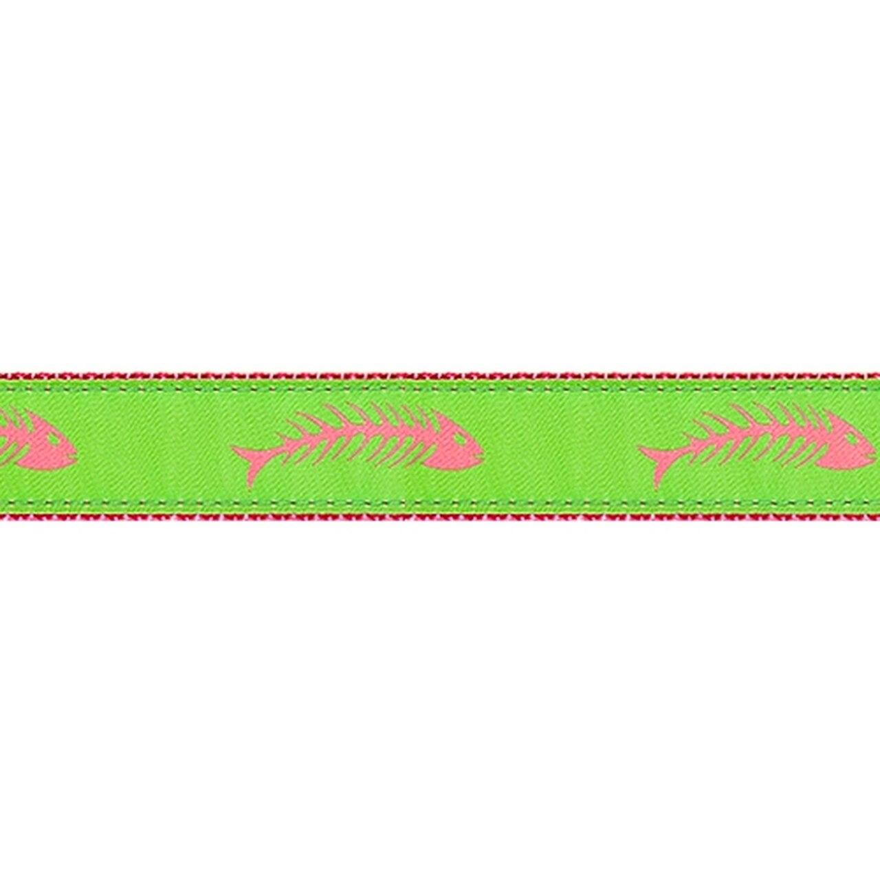 PRESTON Pink & Green Fishbone Dog Collar