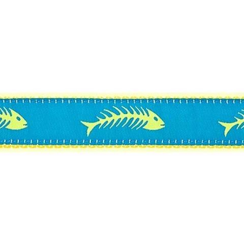 PRESTON Turq. &Yellow Fishbone Dog Collar