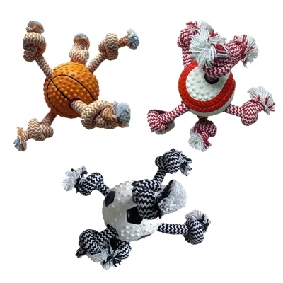 MultiPet TPR ROPE W ROPE BALL - 11''