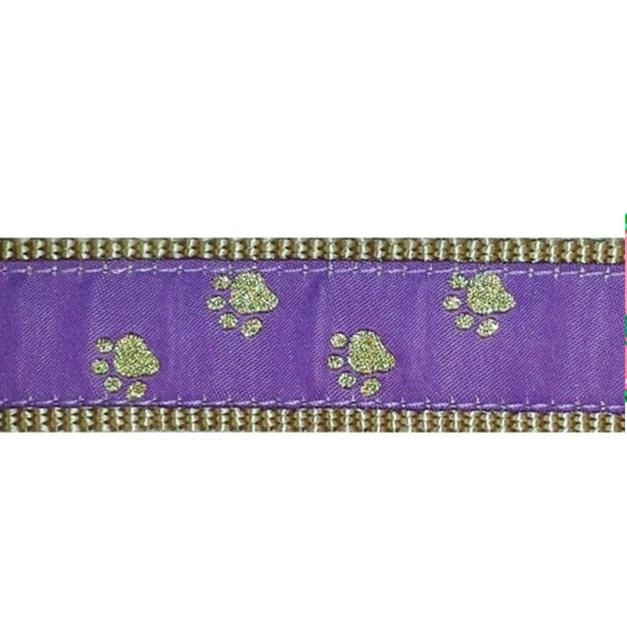 PRESTON Gold Paws on Purple Dog Collar