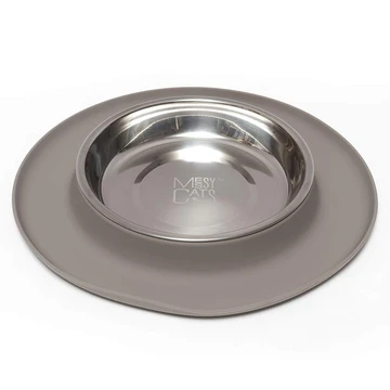 Messy Mutts Messy Cat Feeder Gray Silicone