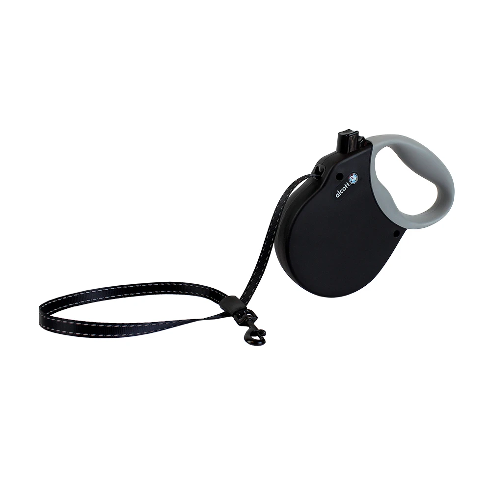 Alcott Retractable Leash Black Large (Up To 110 Lbs )