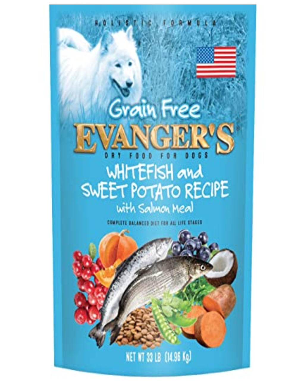 EVANGERS EvangersGrain Free Whitefish & Sweet Potato Recipe with Salmon Meal for Dogs – 4.4 lb.