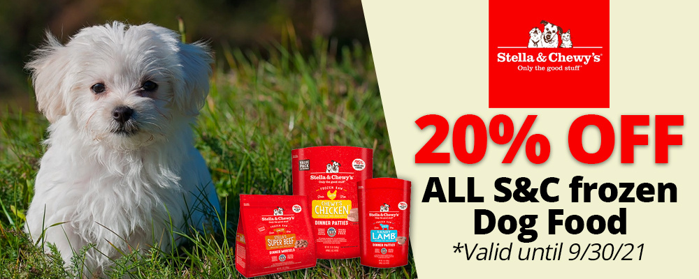 Stella & Chewy's Frozen Dog Food 20% OFF! Valid until 9/30/21