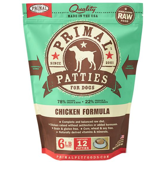 PRIMAL PET FOODS, INC. Primal Patties for Dogs Chicken 6lb