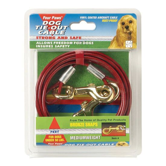 FOUR PAWS Tie Out Cable Medium Weight-30' Red