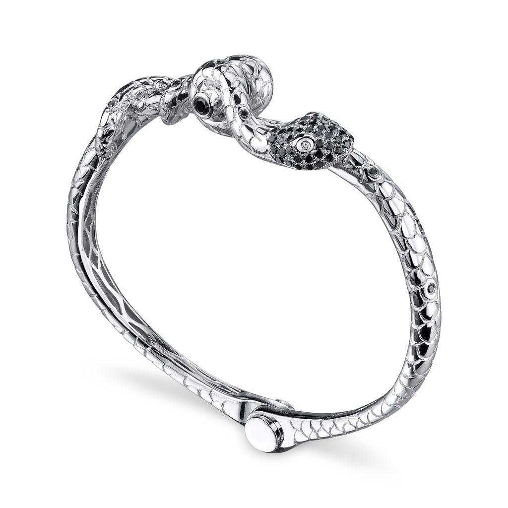 Large Cuffs 14K White Gold, Pave Black Diamond Snake Handcuff Bangle.93 cts. black diamonds.03 cts. brown diamonds