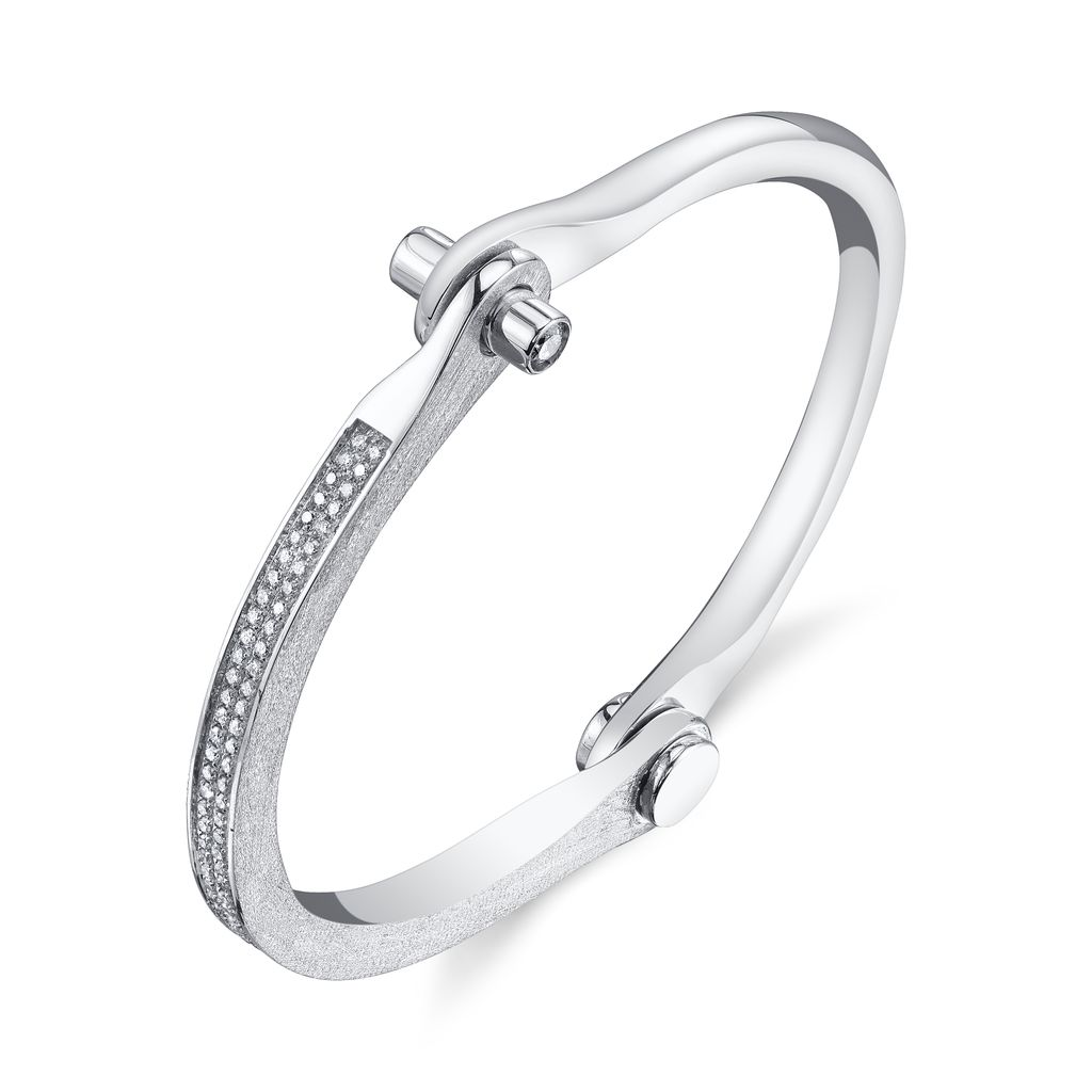 18K White Gold, Micro Pave Diamond Handcuff1.00 ct. diamondsSize 1