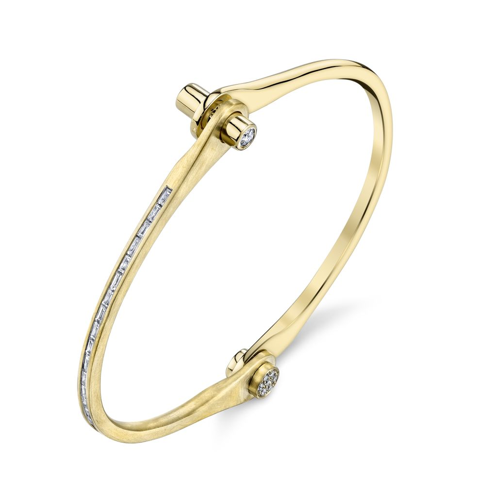 18K Yellow Gold Skinny Handcuff w/ White Diamond Baguettes1.07cts. diamond