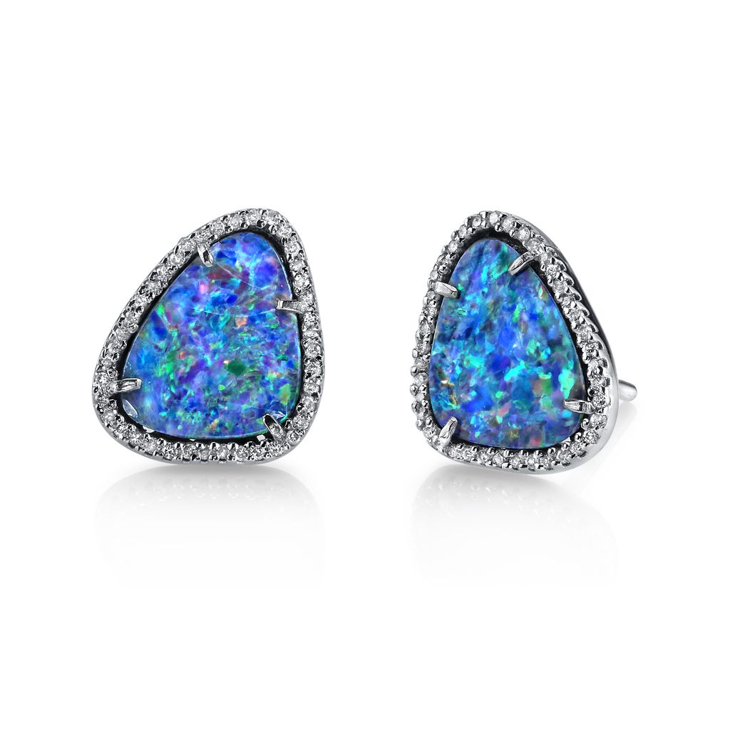 Borgioni 18K Pave Diamond Opal Studs