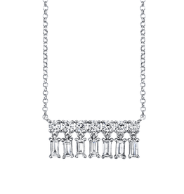Diamond Baguette X-Small Bar Dangle Necklace