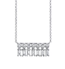 Diamond Baguette X-Small Bar Dangle Necklace