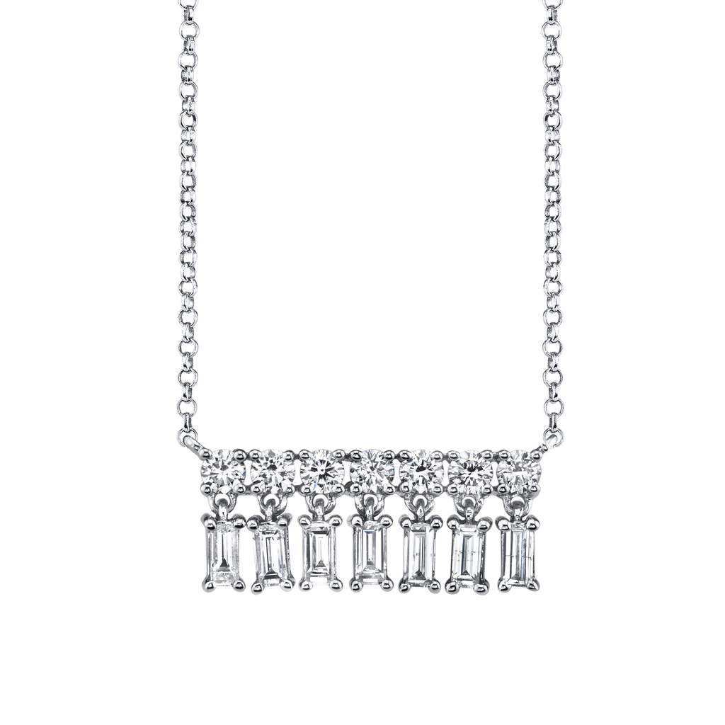 18K White Gold, Diamond Baquette XSmall Bar Dangle Necklace.70cts diamond