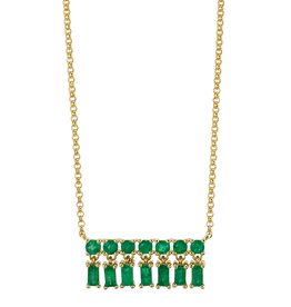 Emerald Baguette X-Small Bar Dangle Necklace