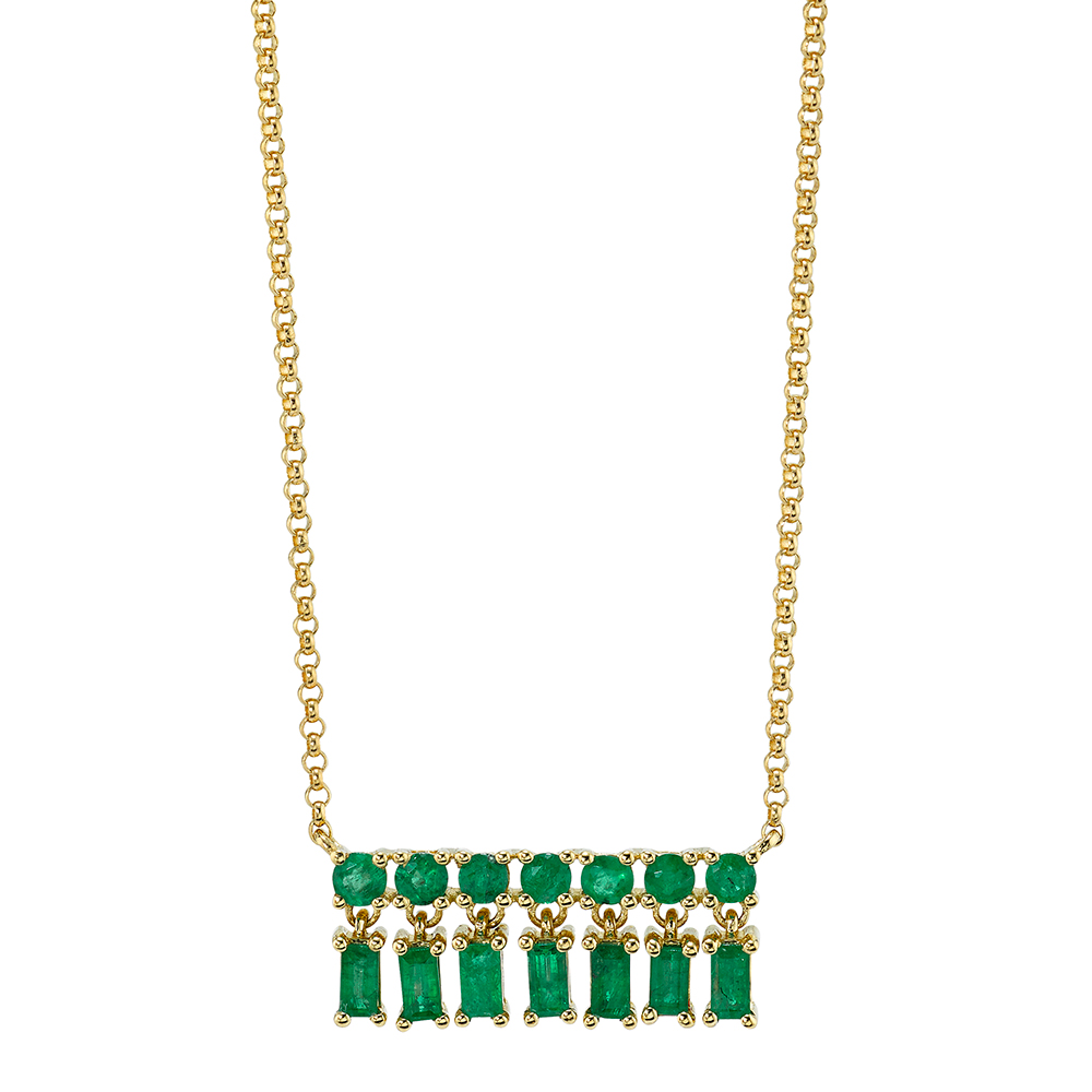 18K Yellow Gold, Emerald Baquette XSmall Bar Dangle Necklace.69cts emerald