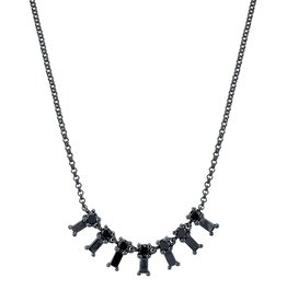 Black Diamond Baguette X-Small Dangle Necklace