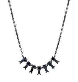 Black Diamond Baguette X-Small Dangle Necklace