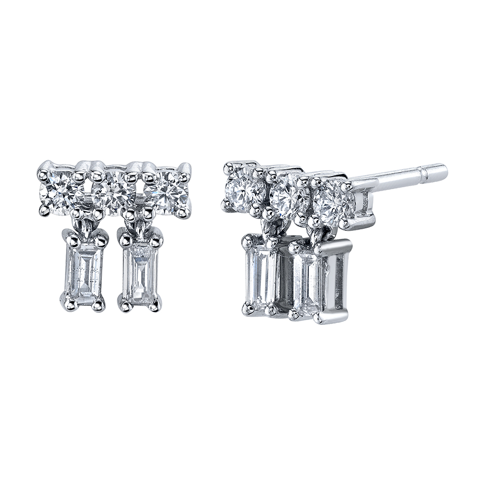 18K White Gold Mixed Cut Drop Diamond Studs.46cts diamonds