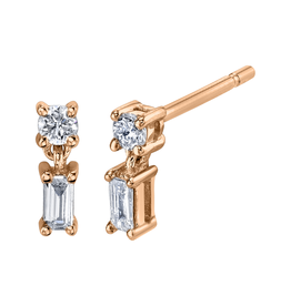 Mixed Cut Single Drop Diamond Studs