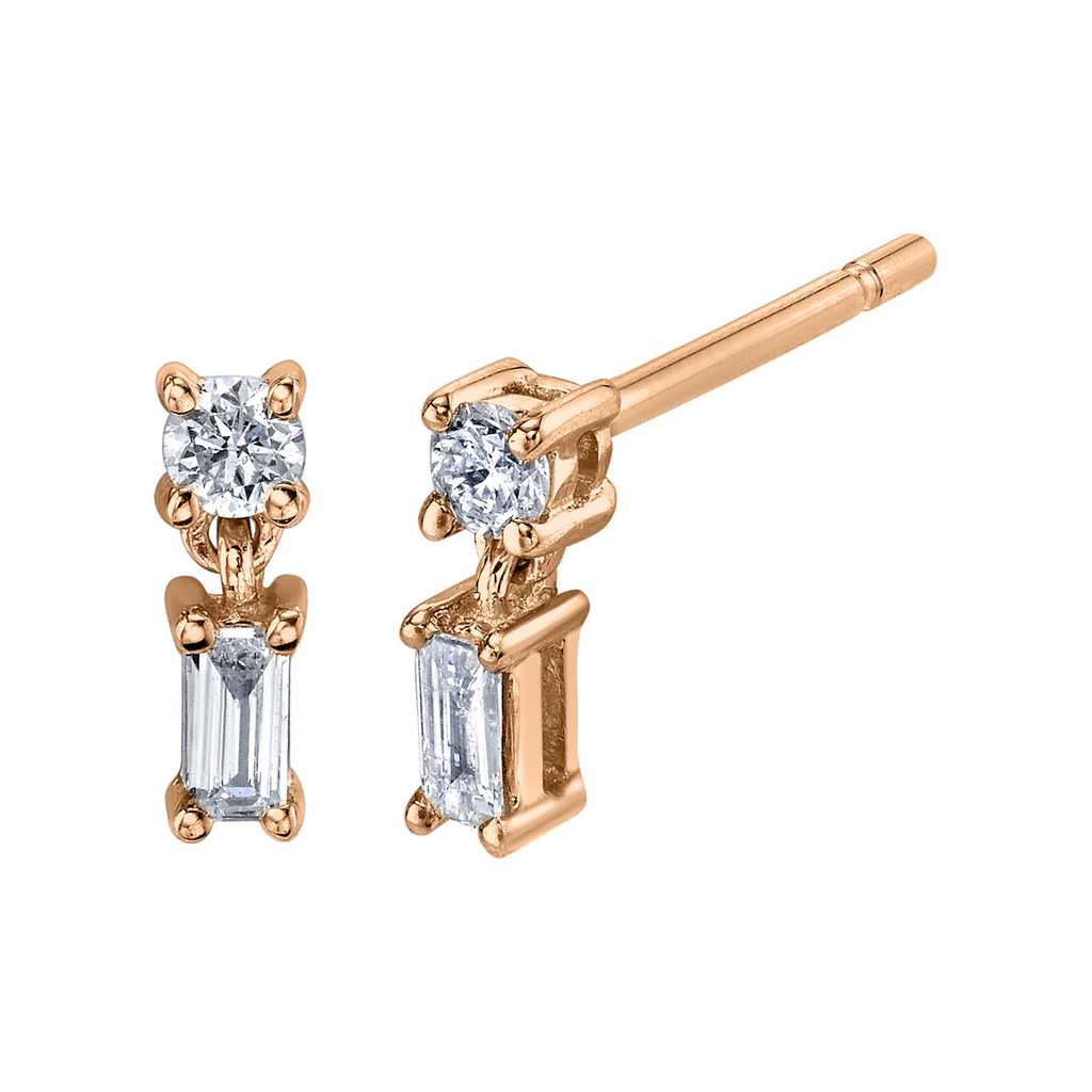 18K Rose Gold, Mixed Cut Single Drop Diamond Stud Earrings.22 cts diamonds