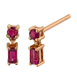 18K Rose Gold, Mixed Cut Single Drop Ruby Studs