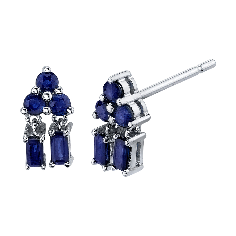 18K White Gold Mixed Cut Pyramid Drop Blue Sapphire Studs.74cts blue sapphire