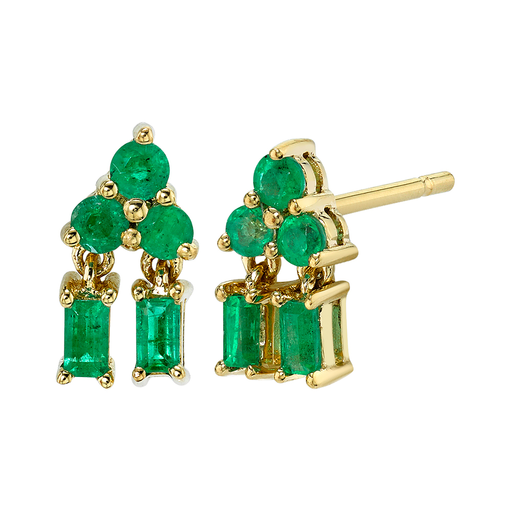 18K Yellow Gold Mixed Cut Pyramid Drop Emerald Studs.54cts emeralds