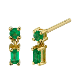 18K Yellow Gold, Mixed Cut Single Drop Emerald Studs