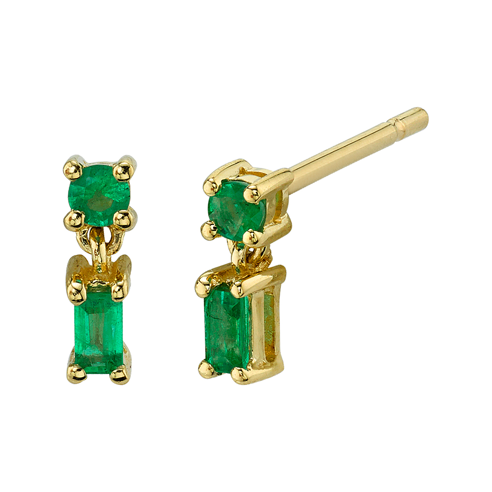 18K Yellow Gold, Mixed Cut Single Drop Emerald Stud Earrings.23cts emeralds