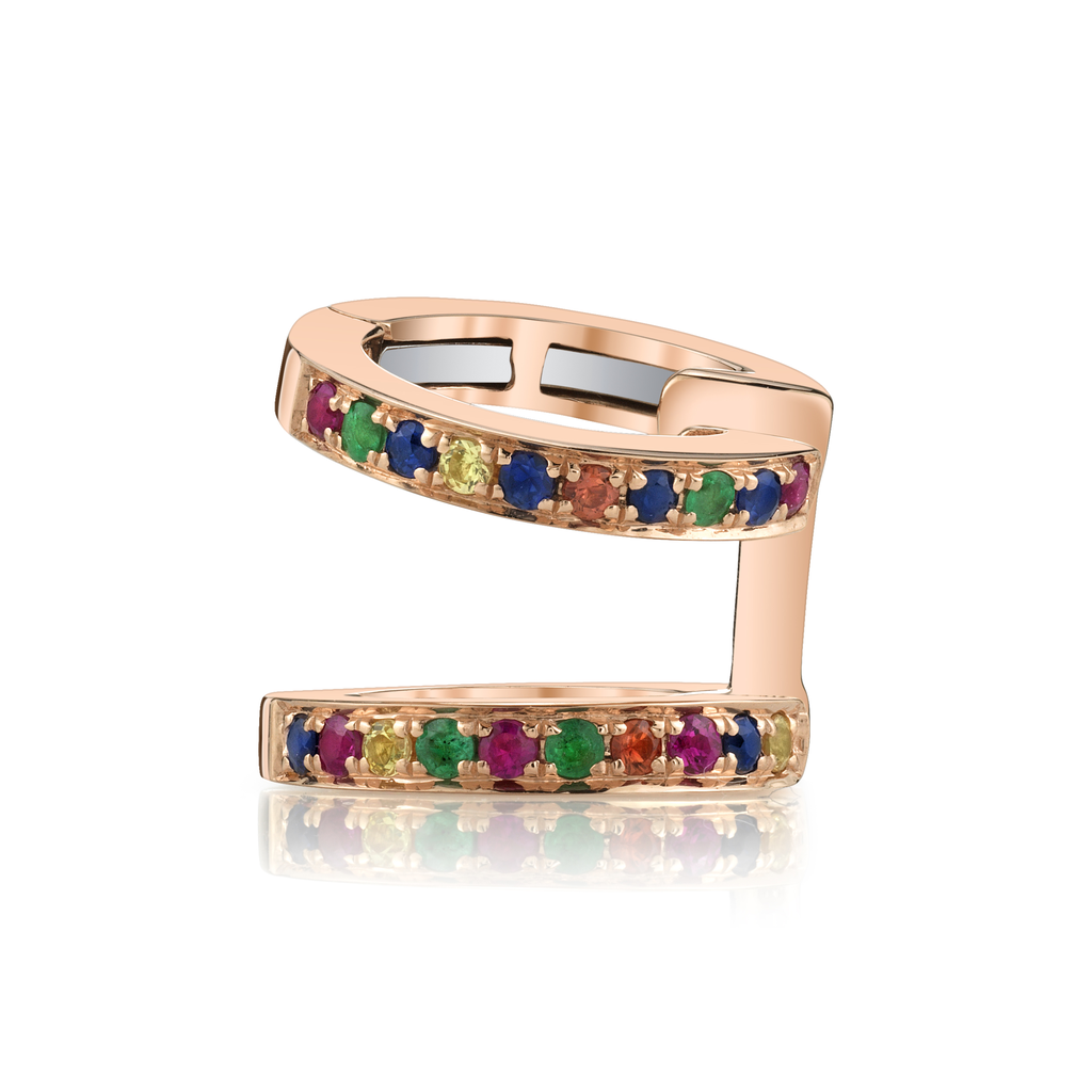 18K Rose Gold, Pave Sapphire Emerald and Ruby Double Earcuff.05cts ruby .03cts orange sapp.03 yellow sapp .04 emerald .08 blue sapp