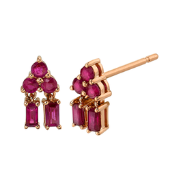 Mixed Cut Pyramid Drop Ruby Studs