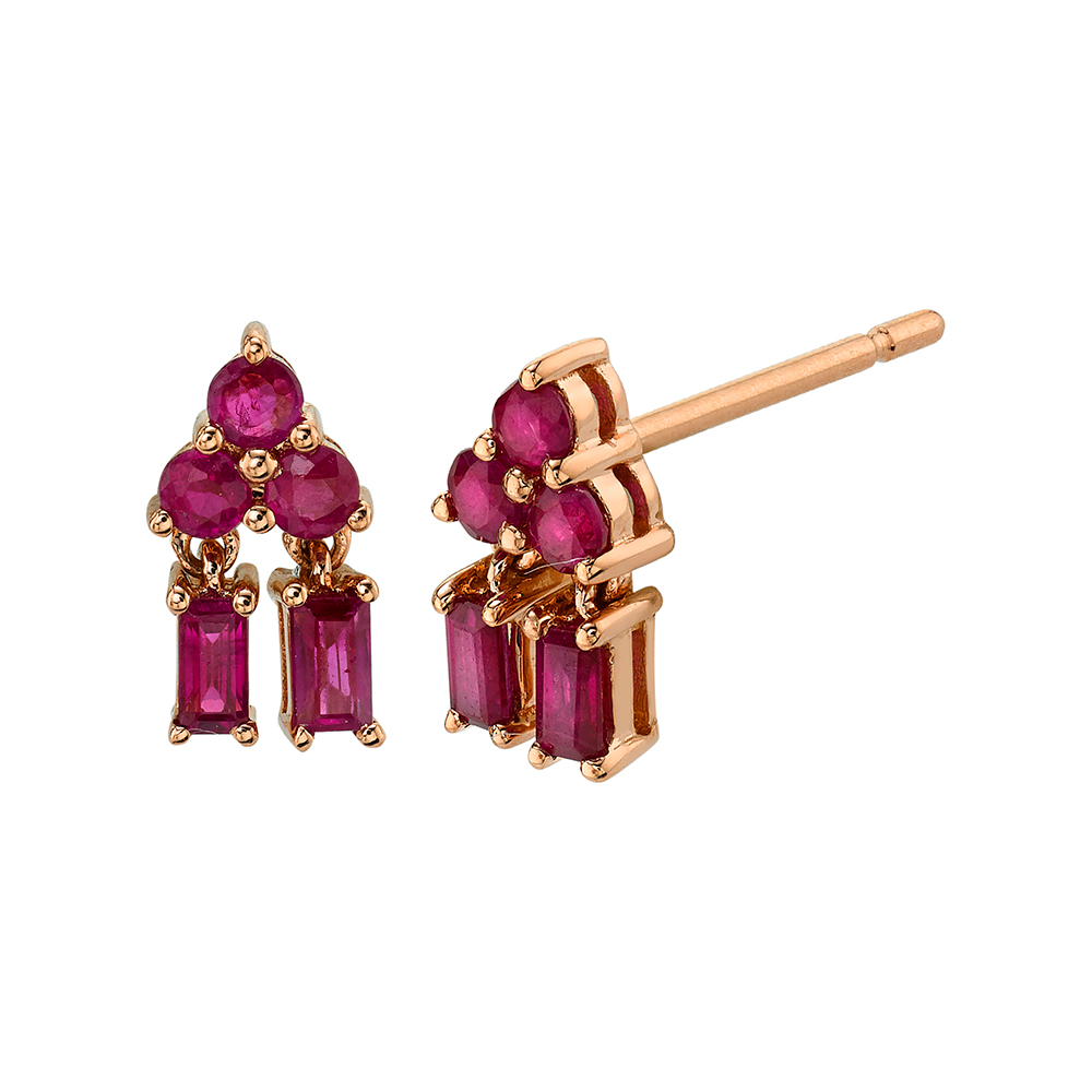18K Rose Gold Mixed Cut Pyramid Drop Ruby Studs.76cts rubies
