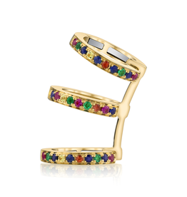 Yellow Gold, Pave Multi Color Triple Ear Cuff