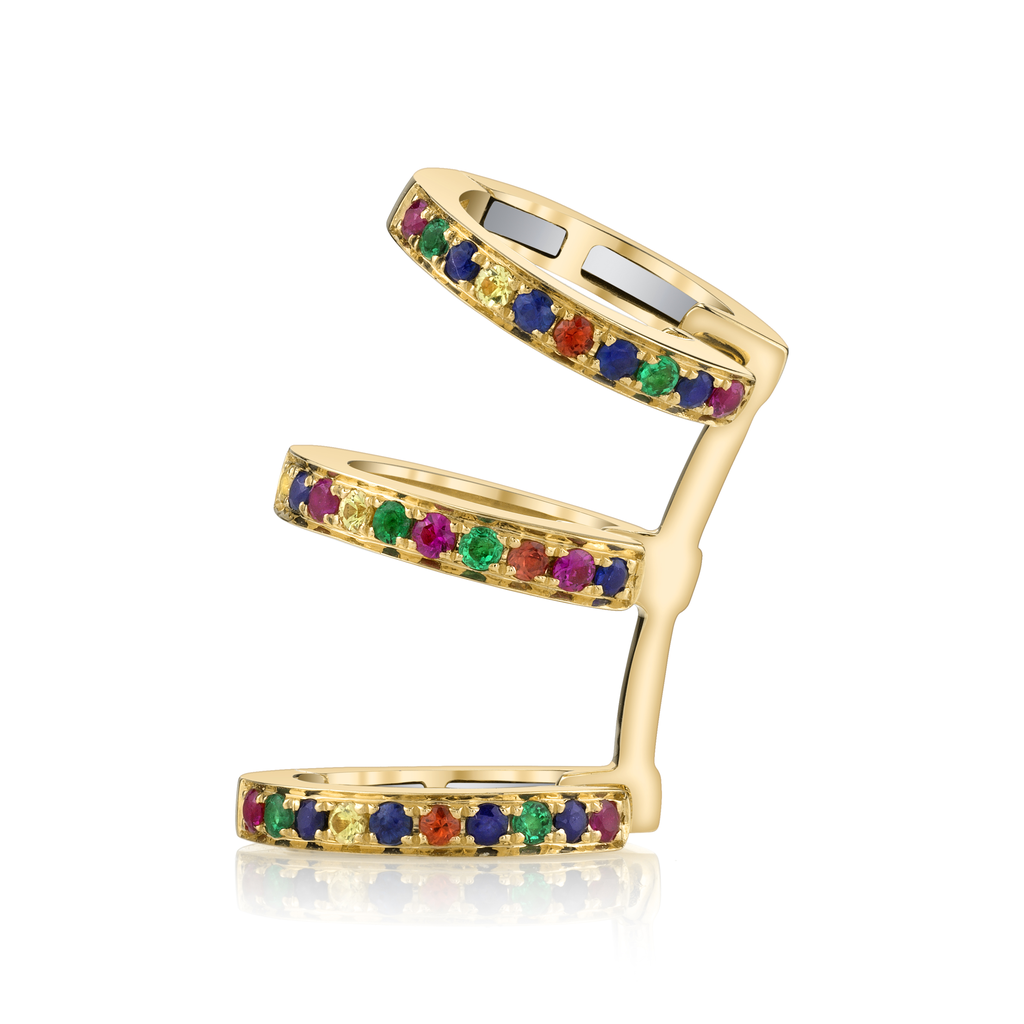 18K Yellow Gold, Pave Sapphire Emerald and Ruby Triple Earcuff.09cts ruby .04cts orange sapp.05 yellow sapp .07 emerald .012 blue sapp