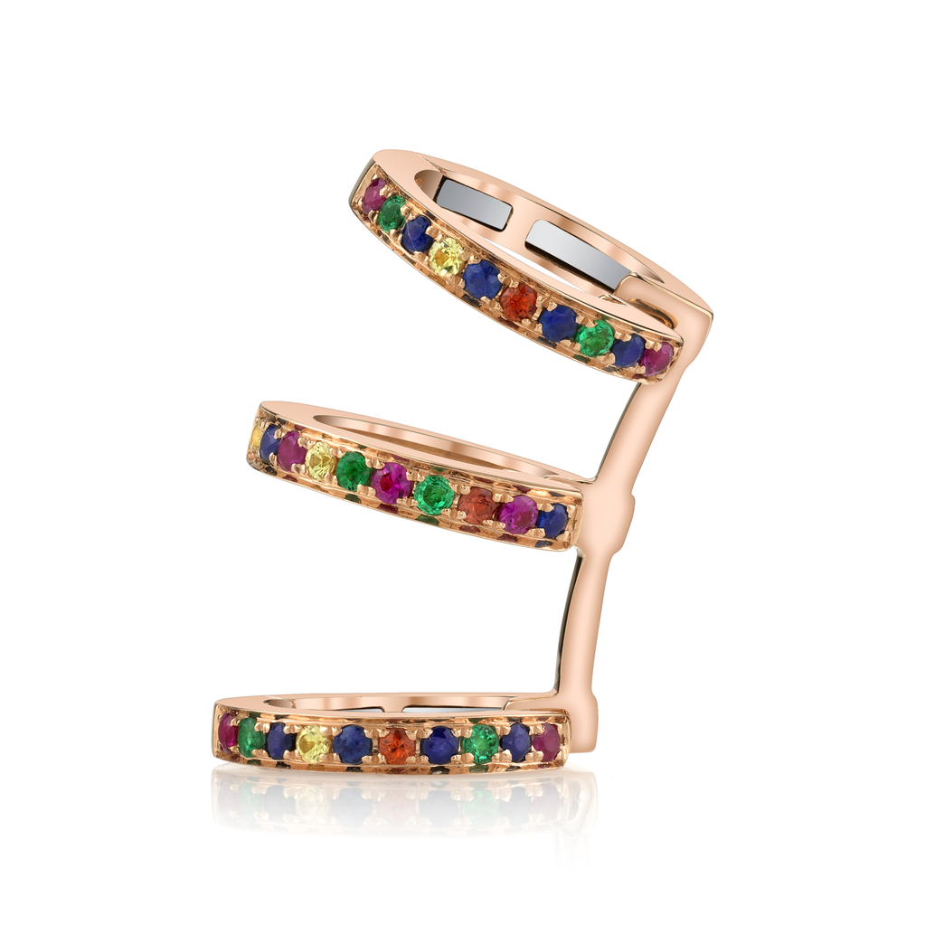 18K Rose Gold, Pave Sapphire Emerald and Ruby Triple Earcuff.09cts ruby .04cts orange sapp.05 yellow sapp .07 emerald .012 blue sapp