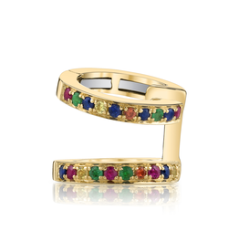 Yellow Gold, Pave Multi Color Double Ear Cuff