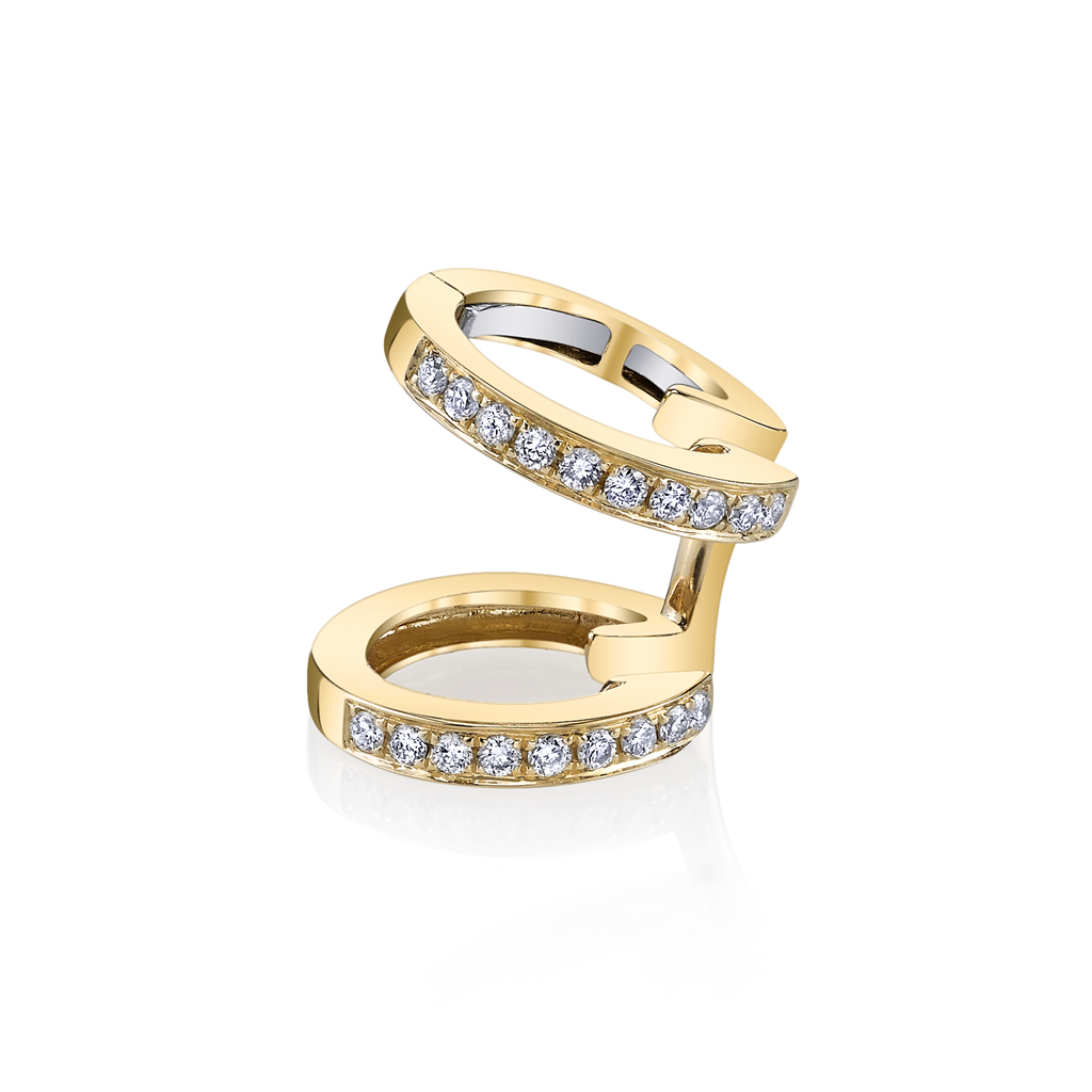 18K Yellow Gold, Pave Diamond Multi Earcuff.18cts diamonds