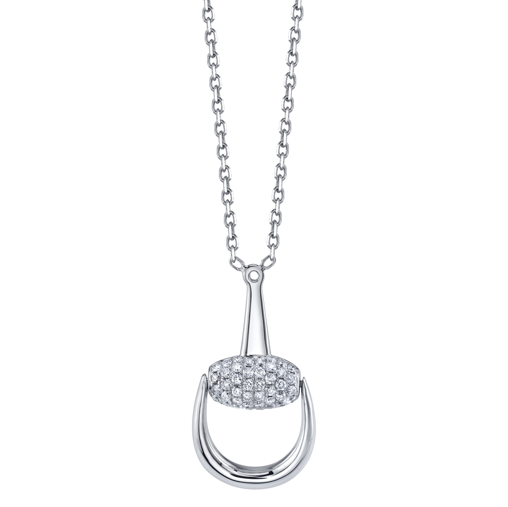 18K White Gold, Pave Diamond Large Horse Stirrup Necklace<br /> .44cts diamonds