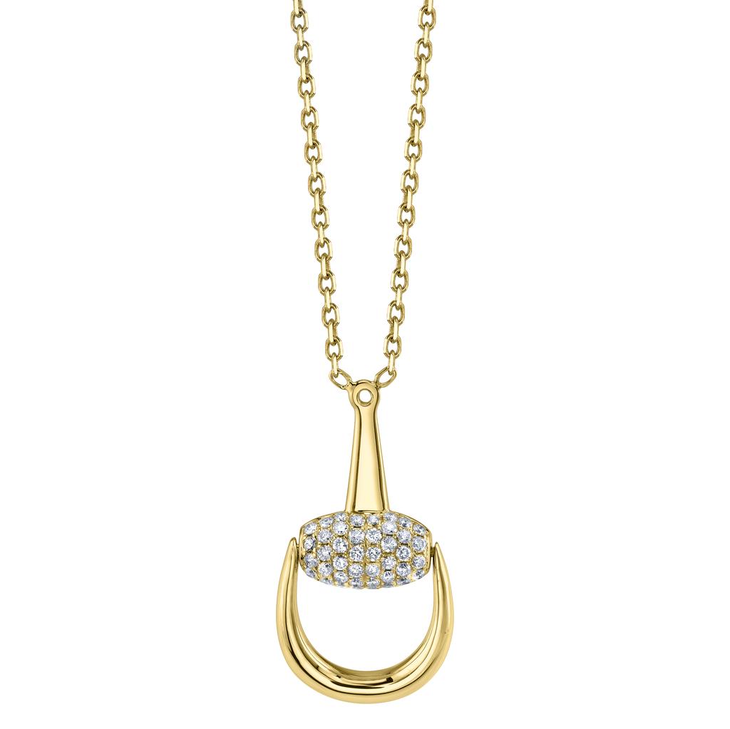 18K Yellow Gold, Pave Diamond Small Horse Stirrup Necklace<br /> .38cts diamonds
