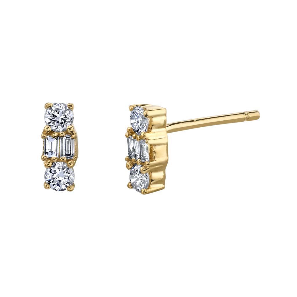 18K Yellow Gold Mixed Cut Diamond Studs.24cts diamonds