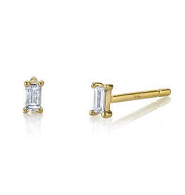 18K Yellow Gold Diamond Baguette Single Studs