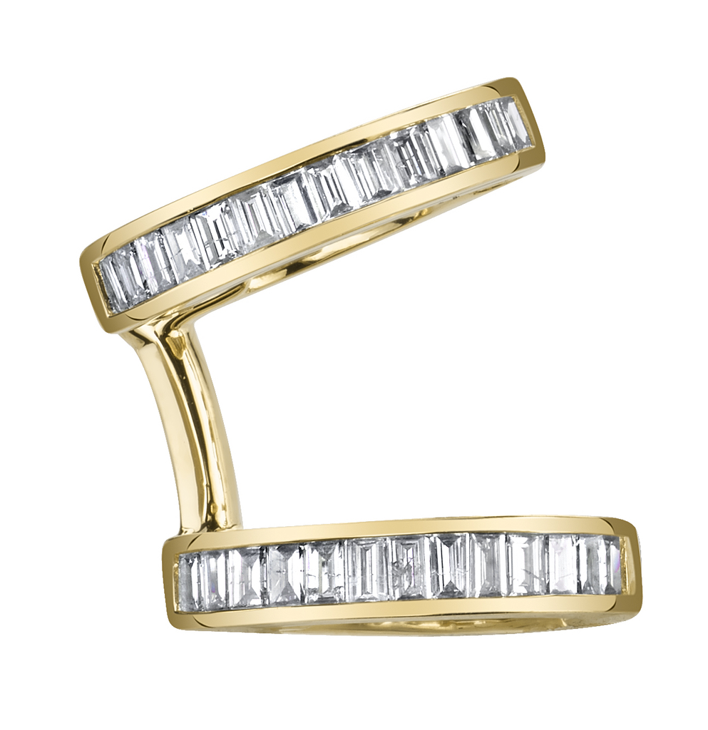 18K Yellow Gold, Diamond Baguette Multi Earcuff.30cts diamonds