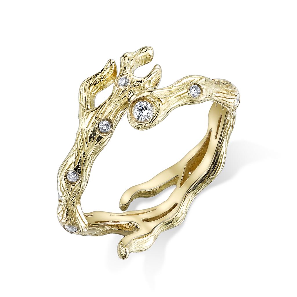 18K Yellow Gold, Pave Diamond Branch Band.55cts white diamonds