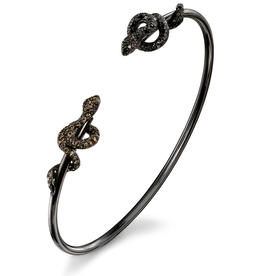 Open Cuffs 18K Black Rhodium Gold, Pave Brown & Black Diamond Snake Open Cuff