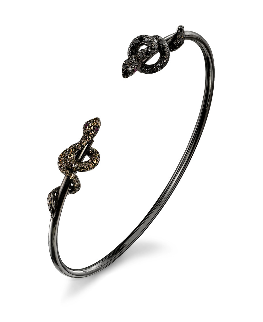 Open Cuffs 18K Black Rhodium Gold, Pavé Brown & Black Diamond Snake Open Cuff .47 cts. Brown Diamonds .51 cts. Black Diamonds.04 cts. Rubies
