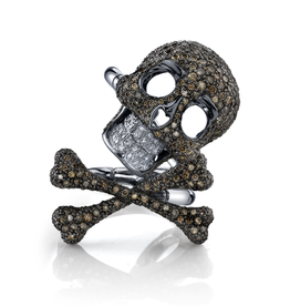 Women's Rings 18K Black Rhodium Gold, White & Cognac Diamond Skull & Cross Bone Ring